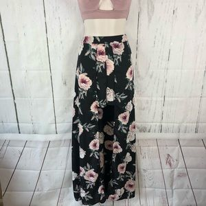 Floral walk thru maxi skirt